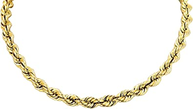 Hollow Rope Chain Real 10k Yellow Gold Necklace 4 0mm 18 To 26 18 Inches Amazon Com