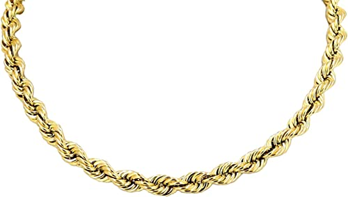 MEN/'S WOMEN/'S REAL10K YELLOW GOLD HOLLOW ROPE CHAIN NECKLACE 2 MM 16~26 INCH