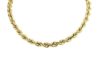 6eacd0d44a25d Hollow Rope Chain Real 10K Yellow Gold Necklace 4.0MM 18