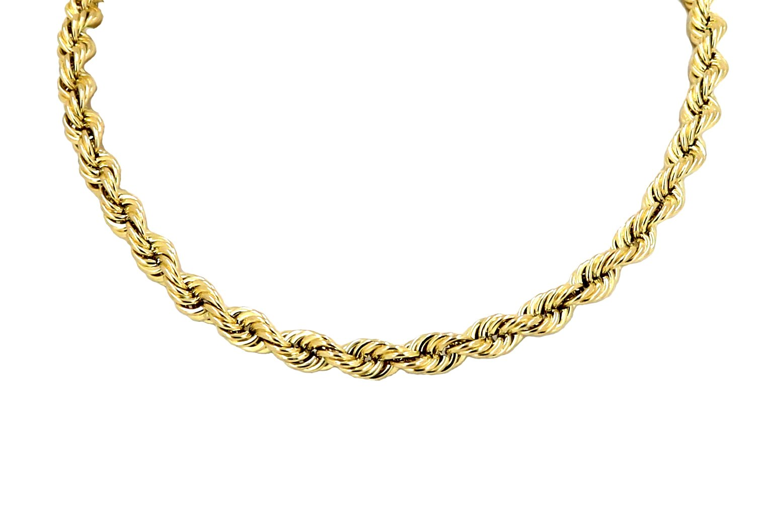 Real 10K Yellow Gold Hollow Rope Chain Necklace 2.5MM 16'' to 28'' (18 Inches)