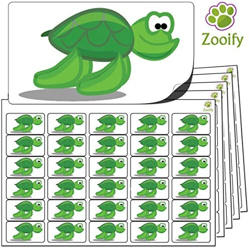 480 x Aufkleber - Schildkröte (38 x 21 mm). Hochwertige selbstklebende Etiketten mit Tiermotiv von Zooify.