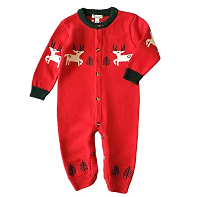 Newborn Baby Girls Boys Christmas Cable Knit Sweater Romper Winter Warm Thicken Xmas Deer Pattern Jumpsuit Infant Onesie: Arts, Crafts & Sewing