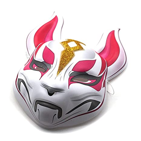 Greetuny 1pcs 蛍火の杜へKitsune Mask Blanco y Rojo Disfraz ...