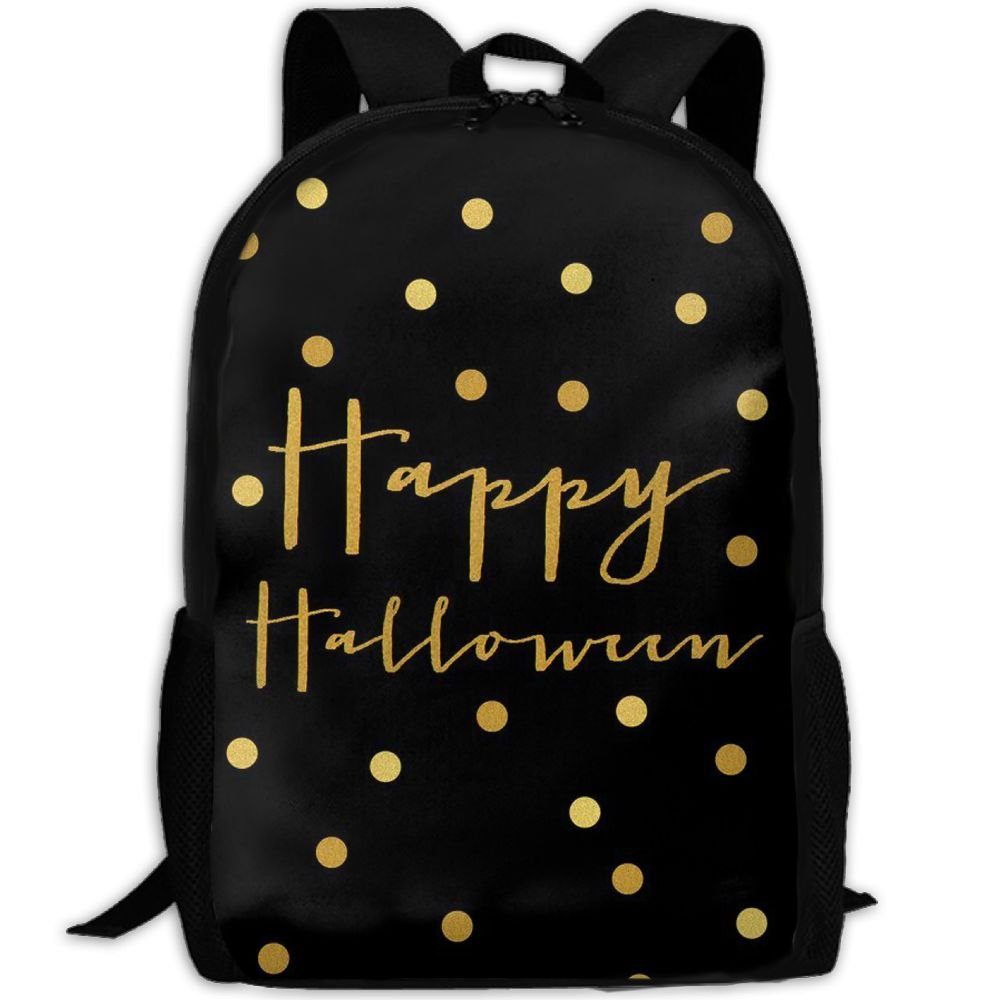 Gold Happy Halloween Double Shoulder Backpacks For Adults Traveling Bags Full Print Fashion