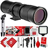 Opteka 420-800mm / 840-1600mm Super Telephoto Zoom Lens w/ 16GB - 15PC Bundle for Canon EOS 80D, 77D, 70D, 60D, 7D, 6D, 5D, 7D Mark II, T7i, T6s, T6i, T6, T5i, T5, SL1 & SL2 Digital SLR Cameras