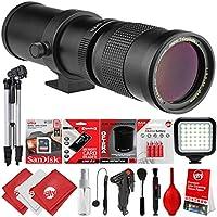 Opteka 420-800mm/840-1600mm Super Telephoto Zoom Lens w/32GB - 15PC Bundle for Canon EOS 80D, 77D, 70D, 60D, 7D, 6D, 5D, 7D Mark II, T7i, T6s, T6i, T6, T5i, T5, SL1 & SL2 Digital SLR Cameras