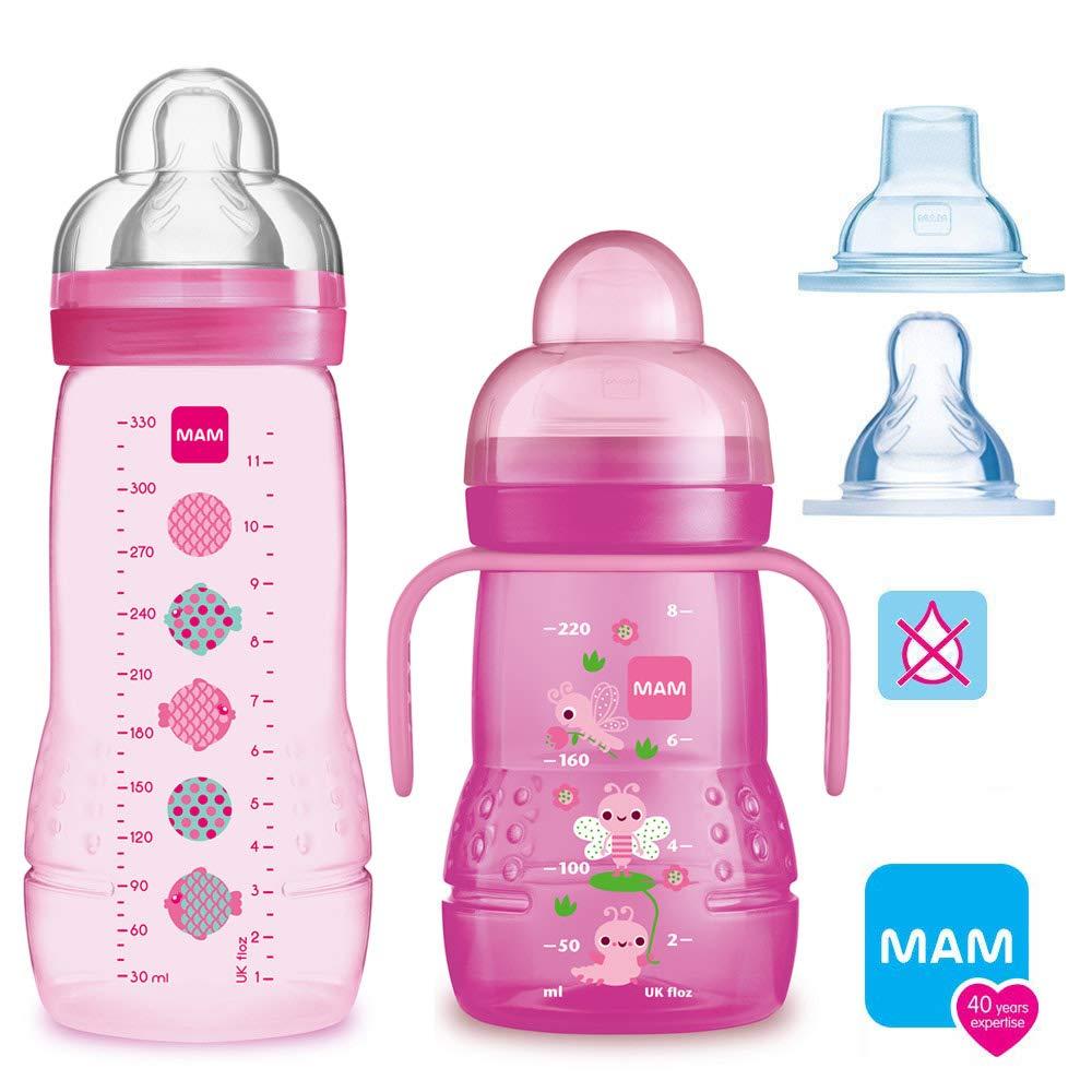MAM Smart Set Girls /à partir de 4 mois //// Baby Bottle Easy Active Gourde 330 ml avec t/étine Gr.2 /& MAM Trainer avec t/étine Taille 4 sans goutte et bec souple