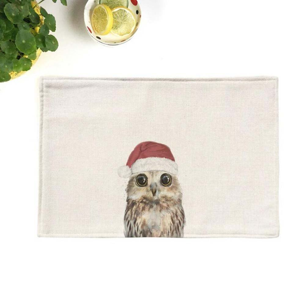 Onfly 4 Pc Set Christmas Cartoon Animal Cloth Placemat Household Waterproof Thick Anti-slip Creative Dog Placemat Rectangular Insulation Pad Small Cover Towel Cloth 4428cm (Color : B)