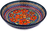 Polish Pottery Pie Dish 10-inch Poppies UNIKAT