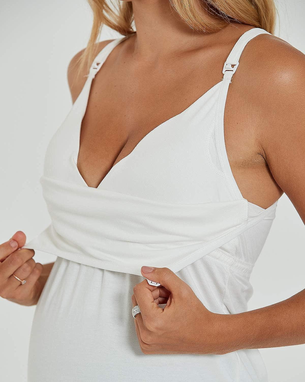 HOTFISH Womens Nursing Cami Tank Top Maternity Bra Breastfeeding with Removable Pads