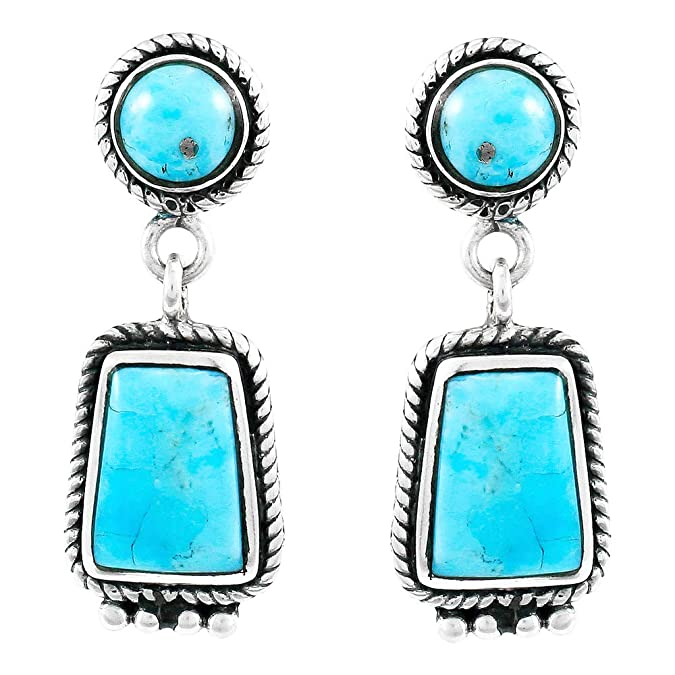 03462ae70 Amazon.com: Turquoise Earrings 925 Sterling Silver & Genuine Turquoise  (Select style) (Artisan Drops): Jewelry