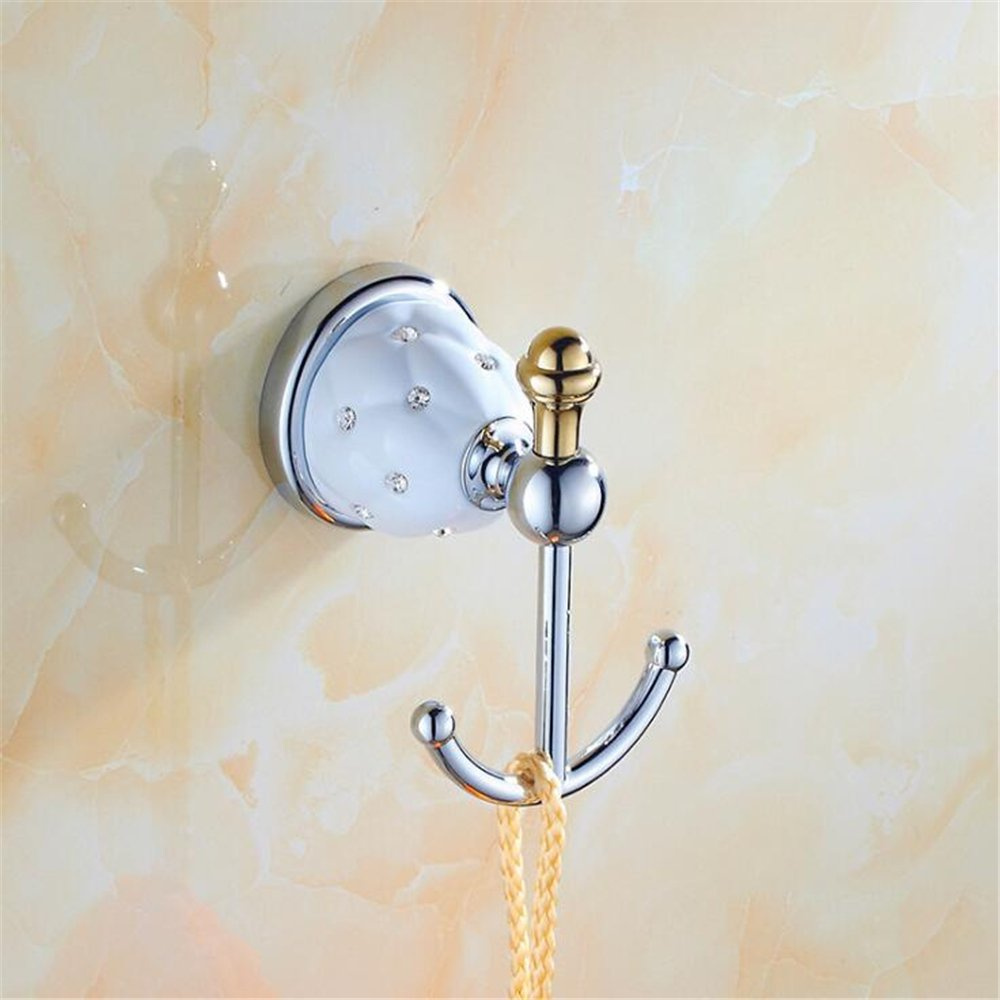 luxury brass Ceramic crystal Bathroom towel ring holder For Bathroom Sets decoration Accessories DIY stainless steel chrome (Silvery B-Typ)