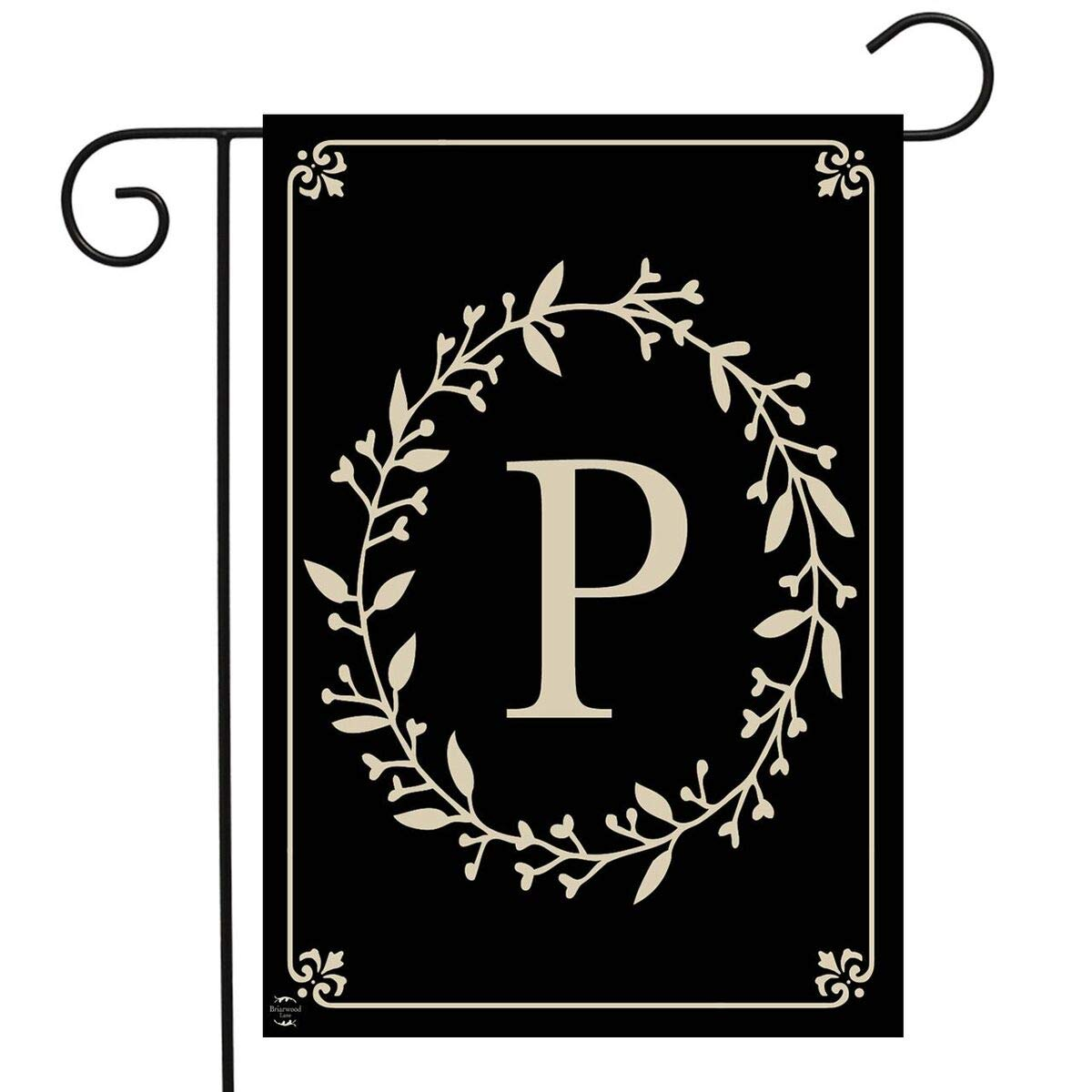 "Briarwood Lane Classic Monogram Letter P Garden Flag Everyday 12.5"" x 18"""