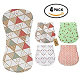 iZiv 4 PACK Baby Burp Cloths Feeding Nursing Towel Accessory, 3 Layers Absorbent Printing Soft Cotton 0-2 Years(Color-1)