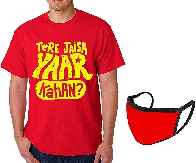 Caseria Men's Cotton Graphic Printed T-Shirt with mask - Tere Jaisa Yaar Kahan