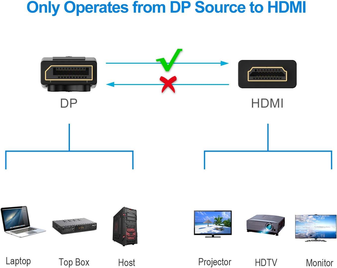 DP Rankie DisplayPort to HDMI Cable 4K Resolution Ready Black 4.5 m