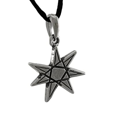 Stainless steel mens pendant necklaces elven star 7 pointed stainless steel mens pendant necklaces elven star 7 pointed heptagram pendant w cord necklace silver aloadofball