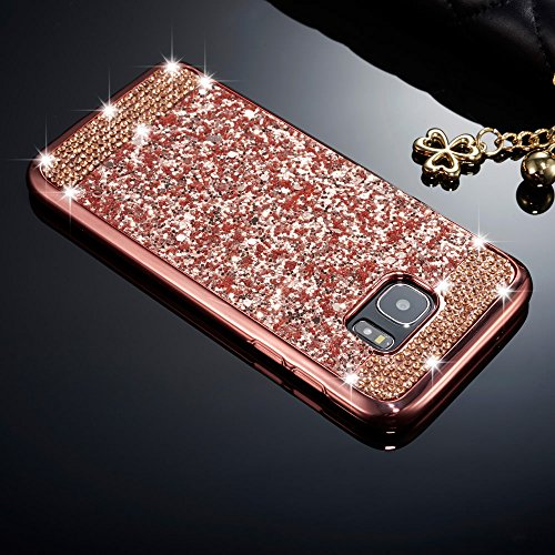 ZCDAYE Samsung Galaxy S7 Edge Case,Bling Glitter [Crystal Rhinestone Diamond] Soft TPU Rubber Silicone [Electroplating Edge] Shockproof Protective Back Case for Samsung Galaxy S7 Edge - Rose Gold
