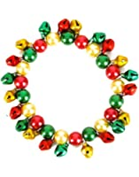 New Red Green & Gold Faux-Pearl Jingle Bells Bracelet