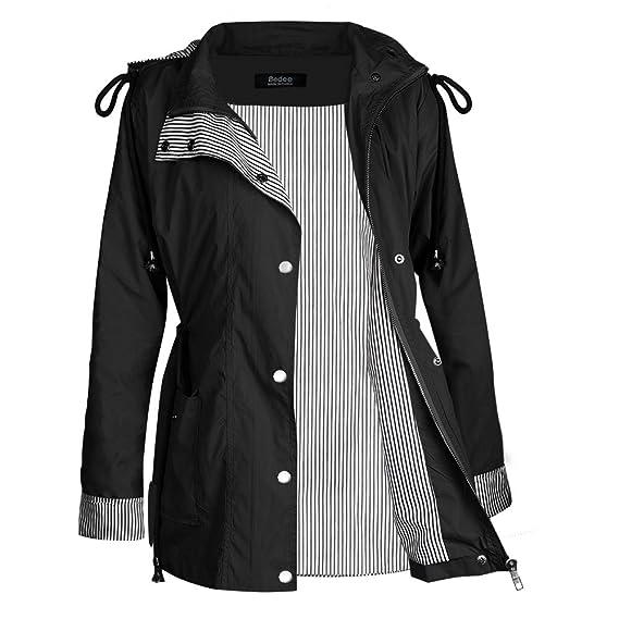7b611d724 bedee Women's Waterproof Rain Jacket, Waterproof Windproof Raincoat  Lightweight Breathable Long Sleeve Hooded Outdoor Windbreaker