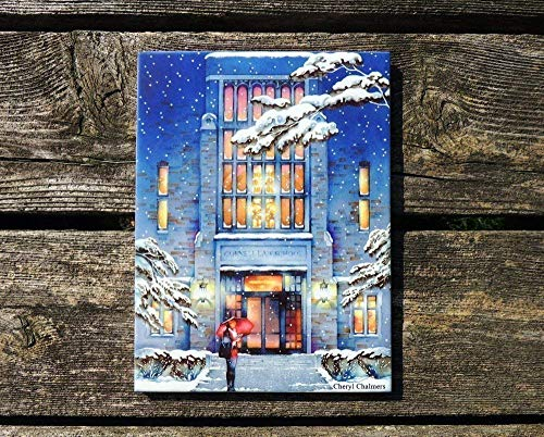 Coasters Taylor Ceramic - Cornell University Law School in Snow, Myron Taylor Hall Watercolor Painting 6