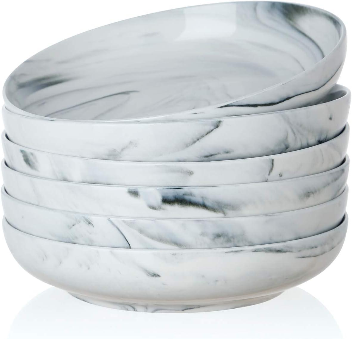 SWEEJAR Ceramic Pasta Bowls Set, 22 OZ for Salad, Soup, Cereal, Set of 6 (Grey)