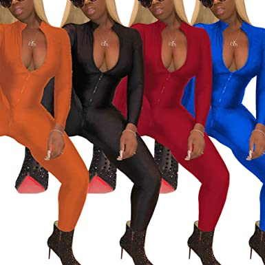 Women Deep V Neck Striped Casual New Long Bodycon Club Zipper Jumpsuit Rompers