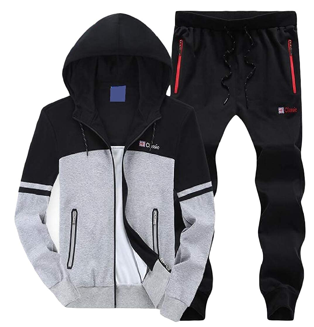 Joe Wenko Mens Casual Hooded Coat Sweatshirt Jacket Sweatsuit Tracksuit Set