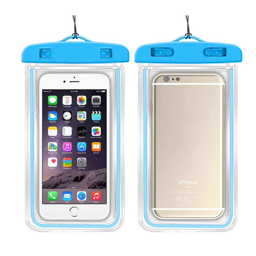 LiaoTI 2pcs Universal Waterproof Case,Cellphone Dry Bag Pouch,with Luminous for iPhone,Samsung,Huawei,Xiaomi and More Blue
