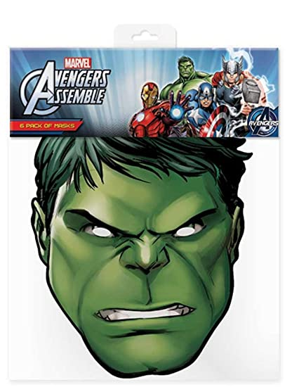 Hulk – Marvel Máscara Máscara de Cartón (Efecto satinado, agujeros en los ojos y