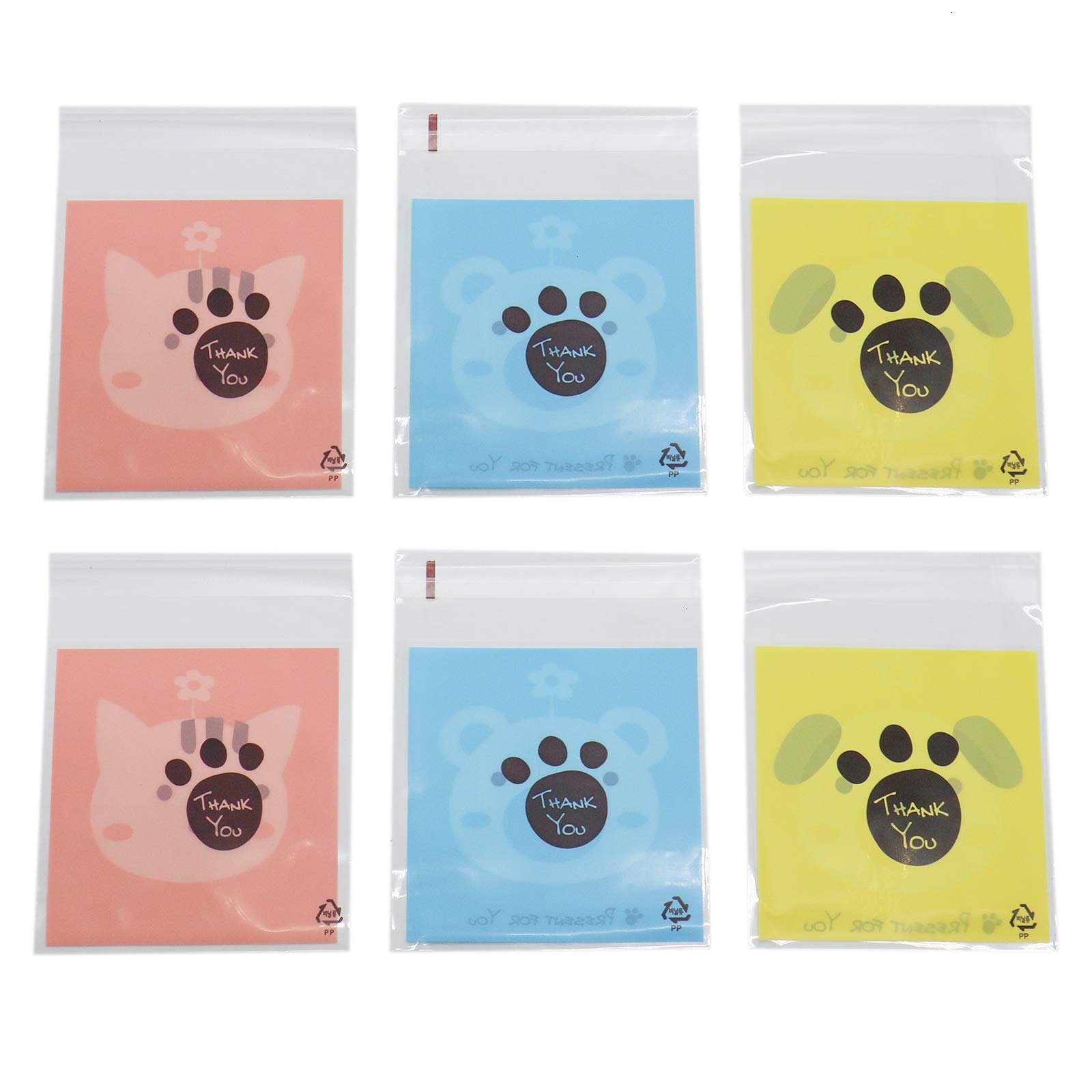 WSSROGY 300 Pcs Cute Animals Candy Cookie Bags Self-adhesive for Gift Giving Wedding Puppy Cat Bear
