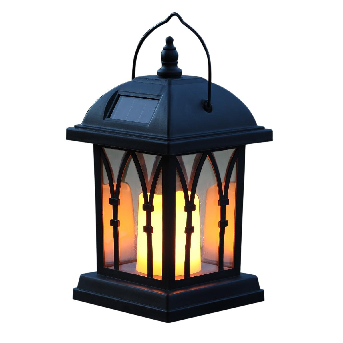 Festive Lights Garden Candle Lantern - Solar Powered - Flickering Effect - Amber LED - 27cm