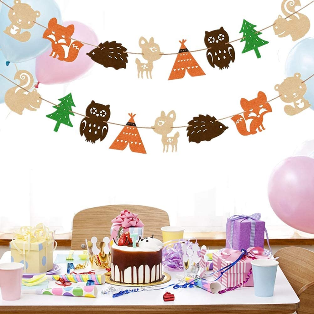 BESTOYARD Kids Party Decorative Flags Nordic Animal Forest Bunting Banner for Birthday Party Decor