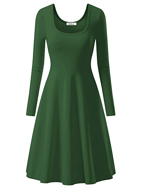 exclusive range top-rated genuine better price for MSBASIC Women Simple Designed Long Sleeve Round Neck Casual Flared Midi  Dress