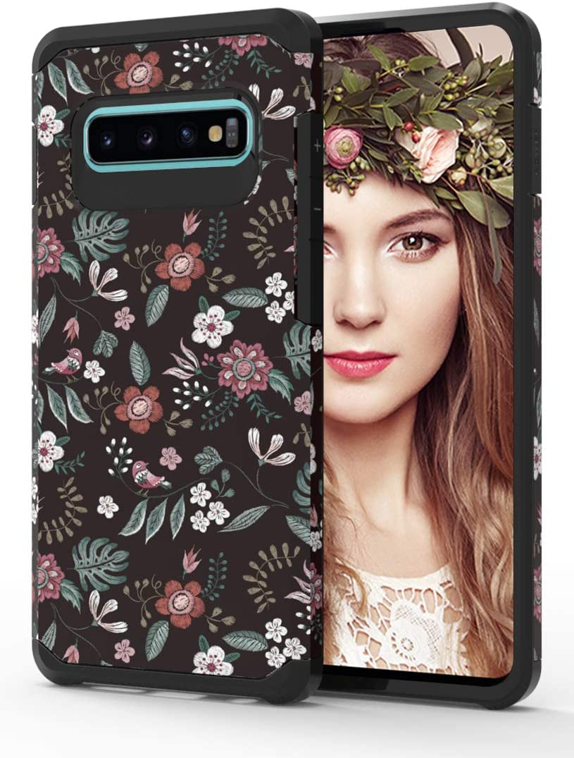 Galaxy S10 Plus Case with Floral Design,Samsung S10 Plus Phone Case,ShinyMax Hybrid Dual Layer Armor Protective Cover Flexible Sturdy Anti-Scratch Shockproof Cute Case for Women and Girls-Flowers/Blac