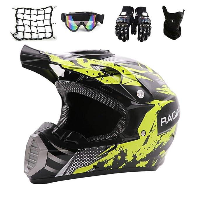 Amazon.com: JACKJO - Casco de motocross con gafas (5 piezas ...