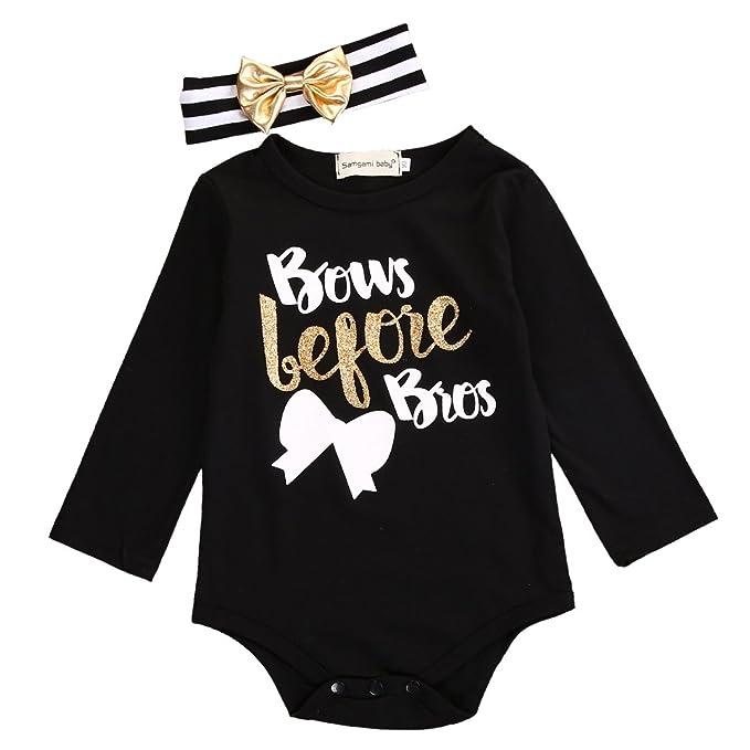 Uniqi Baby Recién nacido bebé niña Body Pelele de manga larga Negro Casual + diadema Negro negro: Amazon.es: Ropa y accesorios