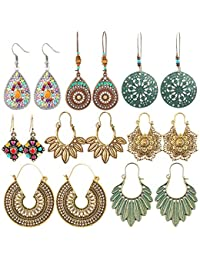 8 Pairs Boho Jewelry Earrings Set Retro Statement Leaf Water Drop Dangle Earrings for Women Girls