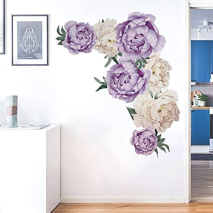 Peony Flowers Wall Decals Rose Flower Wall Stickers Peel and Stick Art Murals for Living Room Kids Room Nursery Room Bedroom Home Decor (Peony Flowers)
