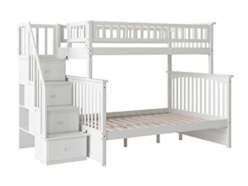 Amazon Com Columbia Staircase Bunk Bed Twin Over Full White
