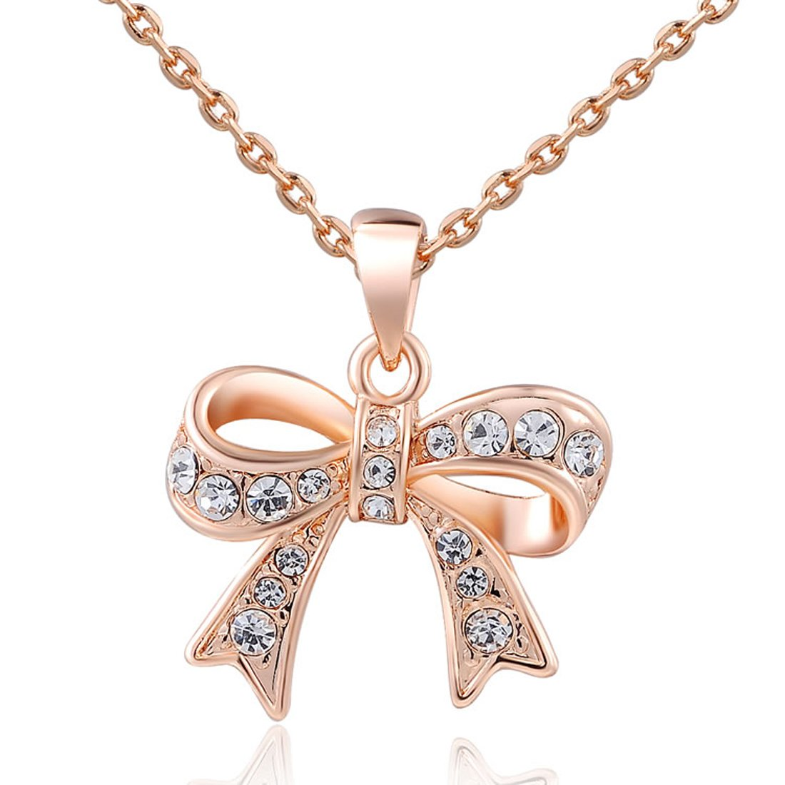 Women Charm Lady Jewelry Pendant Rose Gold Beautiful Bow Chain Necklace CY-Buity KNEJ1302