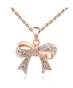 Women Charm Lady Jewelry Pendant Rose Gold Beautiful Bow Chain Necklace