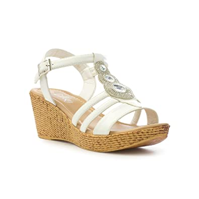 b0f07fe18a Lilley Womens White Disc Diamante Wedge Sandal: Amazon.co.uk: Shoes ...