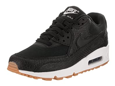 Nike Women s Air Max 90 PRM Black Black-Gum Yellow-White Running Shoe 33faf9c983