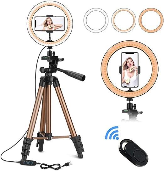 S2Y 10 Pulgadas Luz del Anillo con el Soporte del trípode y Soporte para teléfono, LED Selfie Anillo de luz para Smartphone Youtube autorretrato Grabación de vídeo: Amazon.es: Hogar