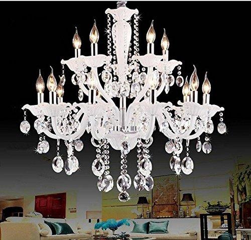 GOWE White color moder crystal chandeliers lustres de cristal lustres de teto luminarias para sala 110-120V,220-240V Lampshade Color:green