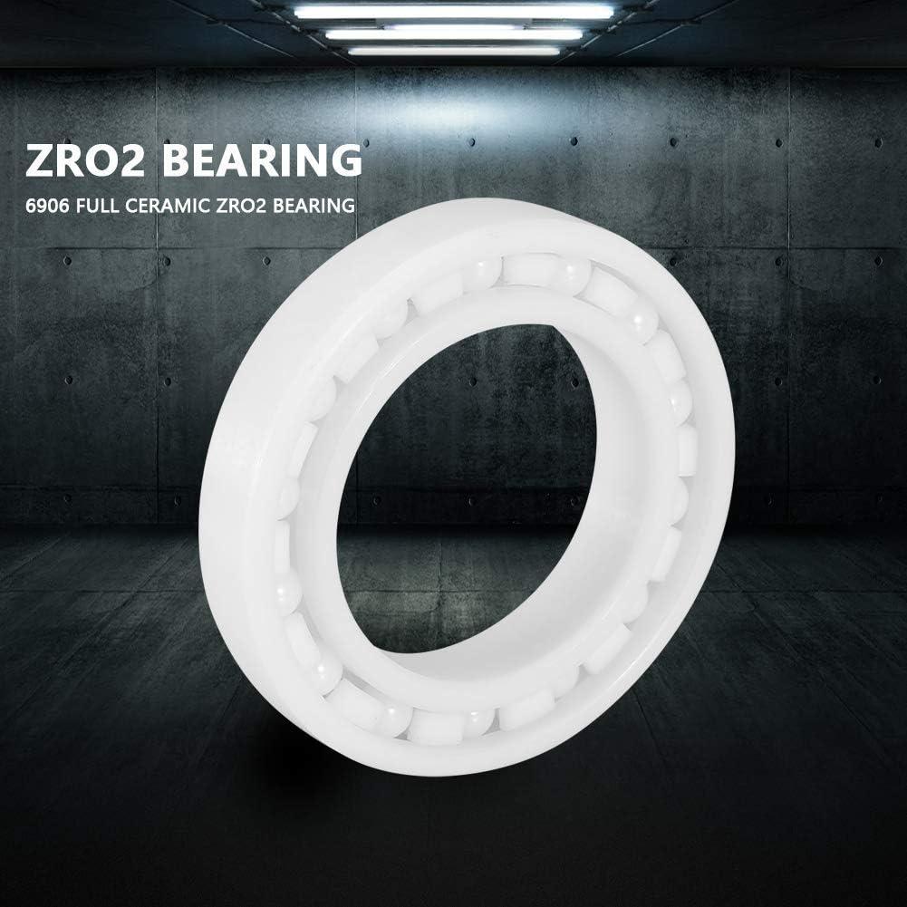 Full ceramic miniature bearing White color ZrO2 6906 Miniature ball bearing Id = 30mm Od = 47mm Width = 9mm