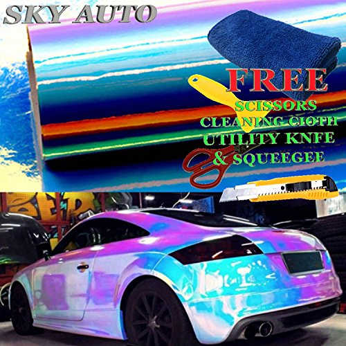 Sky Auto INC Holographic Rainbow WHITE Neo Chrome Car Vinyl Wrap Sticker Decal Film Sheet Free Air Bubble + Free Cutter, Cleaning cloth, Scissors & Squeegee (60' x 54'/5ft x 4.5ft)