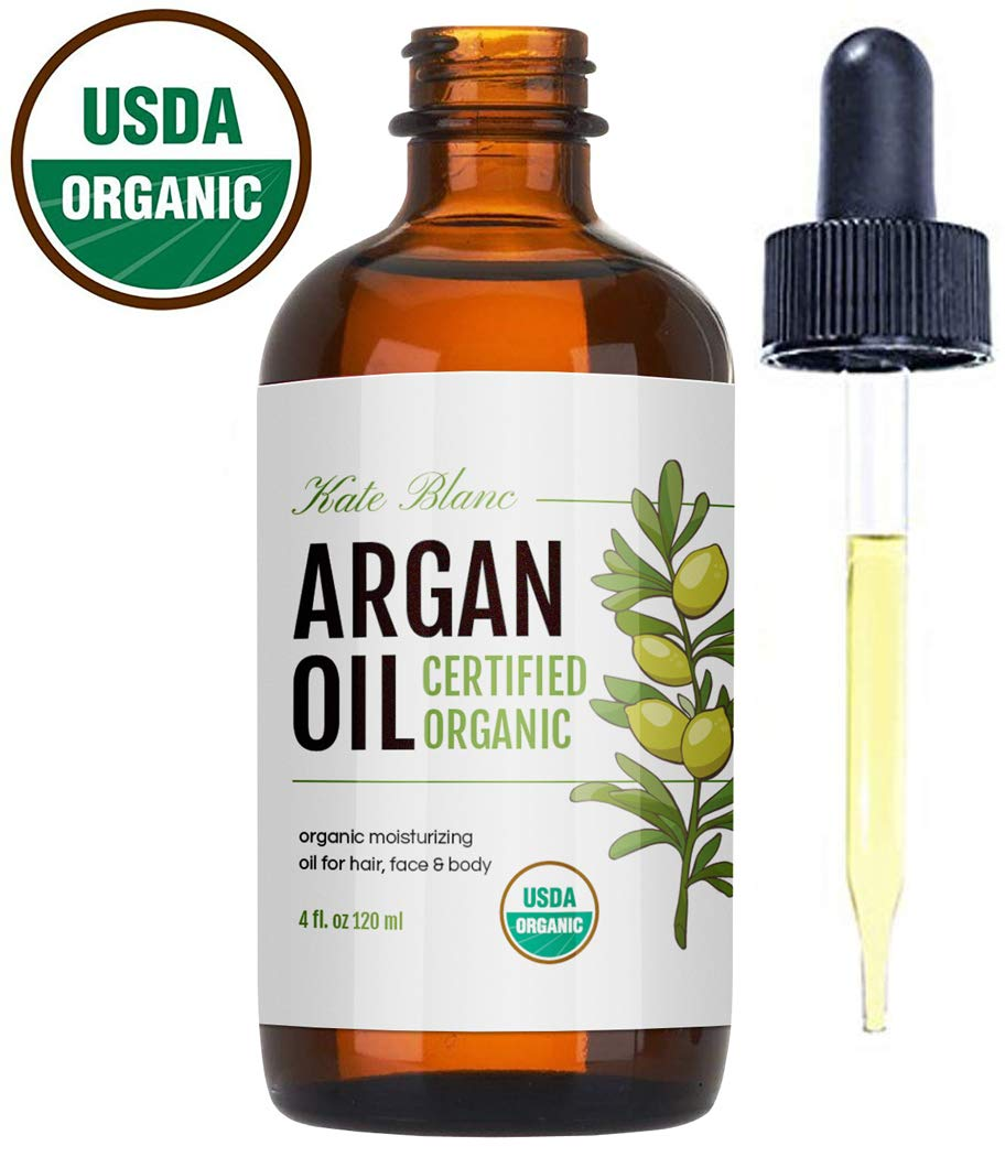 Moroccan Argan Oil, USDA Certified Organic, Virgin, 100% Pure, Cold Pressed by Kate Blanc. Stimulate Growth for Dry and Damaged Hair. Skin Moisturizer. Nails Protector. 1-Year Guarantee. (Light 4oz) by Kate Blanc Cosmetics