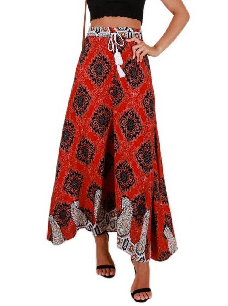 COMVIP Women's Bohemian Summer Beach Drawstring Elastic Waist Long Skirt Red M